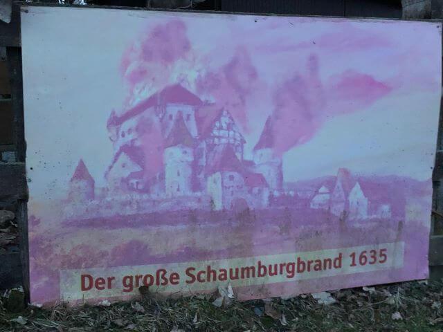 schaumburg brand 1635 compressed   Burgruine Schaumburg in Schalkau